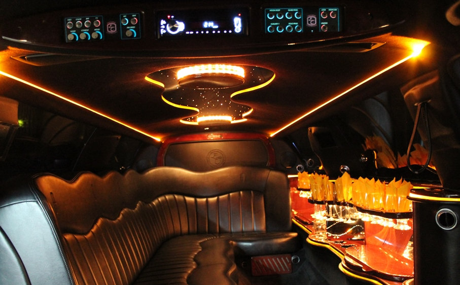 Inside of a stretch limo